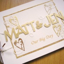 Guest book wedding names gold