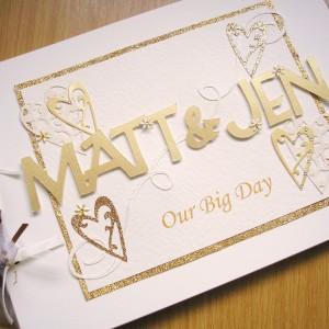 Guest book wedding names gold