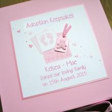 Keepsake box adoption footprints & label with teddy
