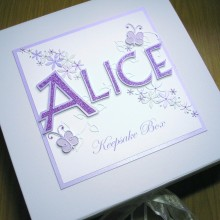 Keepsake box adoption name star flowers & butterflies