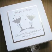 Keepsake box anniversary glitter glasses silver