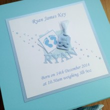 Keepsake box baby boy footprints short name & label with teddy