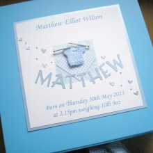Keepsake box baby boy knitted jumper & name