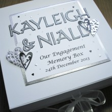 Keepsake box engagement cut out names and lace hearts black & silver on white