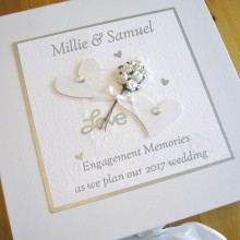 Keepsake box engagement flowers & glitter hearts