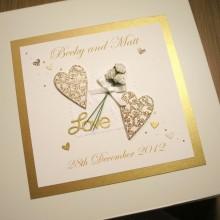 Keepsake box engagement flowers & lace hearts