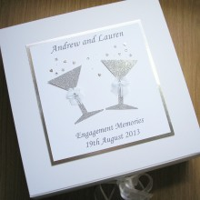 Keepsake box engagement glitter glasses shown silver on white
