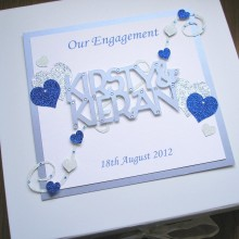 Keepsake box engagement welded names and bold hearts silver & blue on white