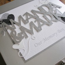 Keepsake box engagement welded names and bold hearts silver on silver