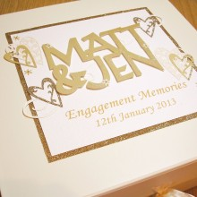Keepsake box engagement welded names and lace hearts gold on cream