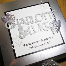 Keepsake box engagement welded names and lace hearts silver on silver