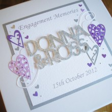Keepsake box engagement welded names and lace hearts silver & purple on white