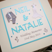 Keepsake box wedding attire on hangers & names