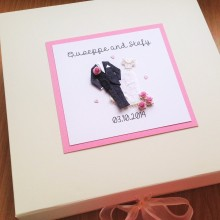 Keepsake box wedding attire with flowers at hem