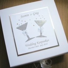 Keepsake box wedding glitter glasses