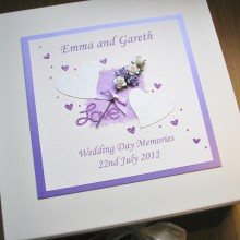 Keepsake box wedding glitter hearts & flowers purple