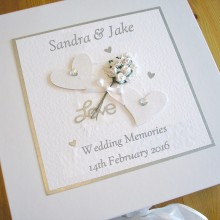 Keepsake box wedding glitter hearts & flowers white & silver