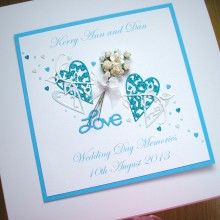Keepsake box wedding lace hearts with flowers & leaves in turquoise