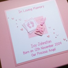 Keepsake box baby memorial footprints & teddy label