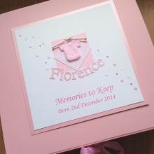 Keepsake box baby memorial knitted jumper & name pink