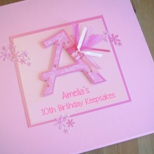 Keepsake box childrens initial any letter pink