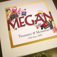 Keepsake box childrens name and hobbies of your choice example theatre