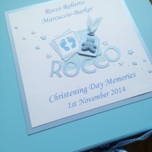 Keepsake box christening blue footprints name & teddy label shown on blue box