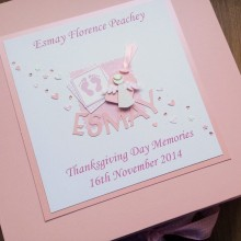 Keepsake box christening pink footprints name & angel label