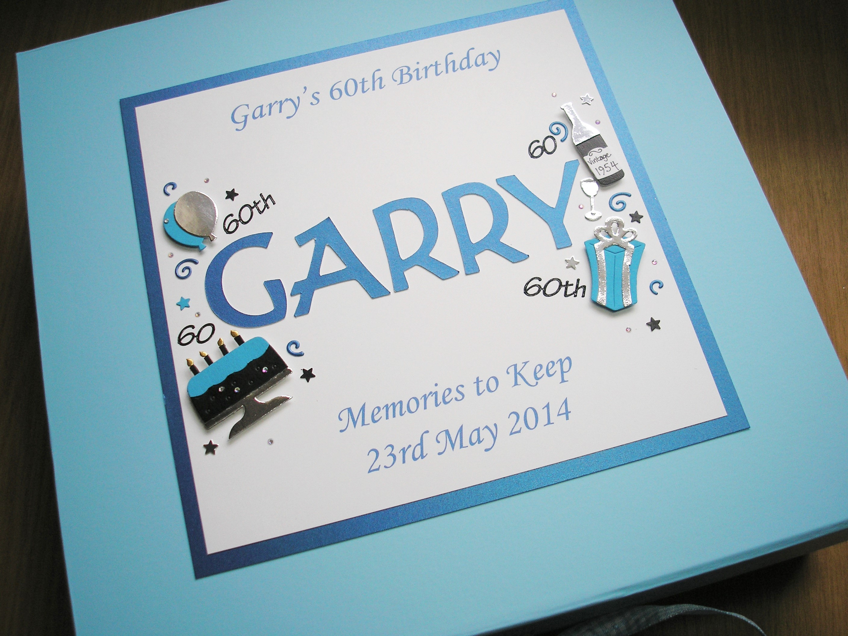 Keepsake Box Mens Name Birthday Decorations Blue