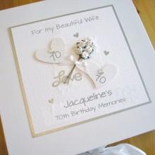 Keepsake box womens flowers with glitter hearts
