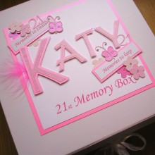 Keepsake box womens name with tag messages pink