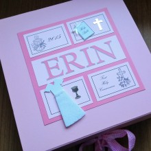 Keepsake box communion girls frames with name and simple design pink