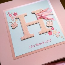 Keepsake box Christening any initial letter & butterflies