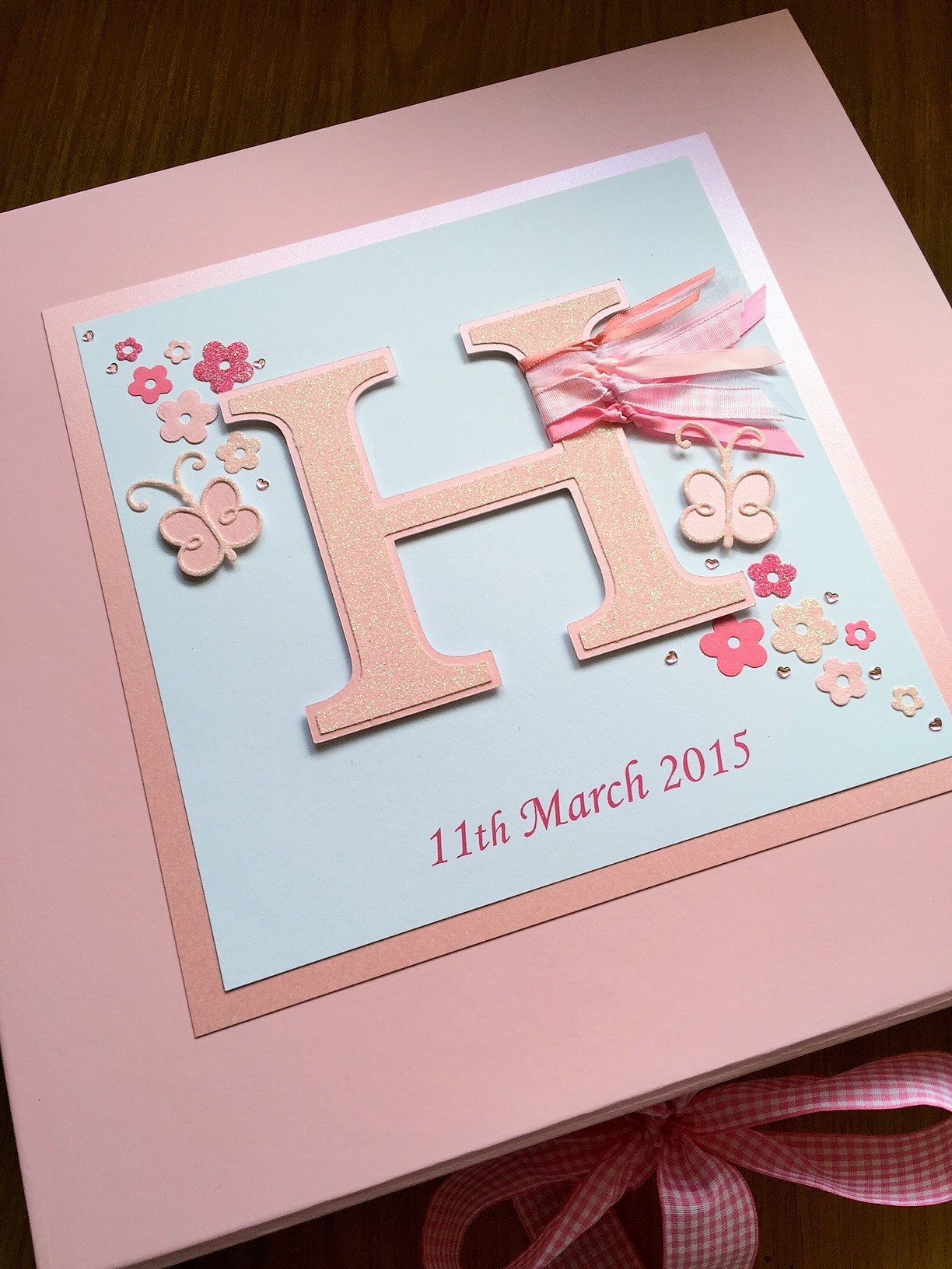 Keepsake Box Christening Any Initial Letter Butterflies