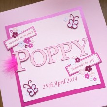 Keepsake box adoption name with date & tag messages pink