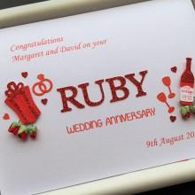 Anniversary cut out words ruby