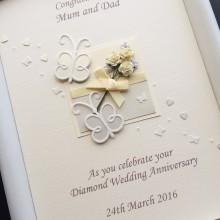 Anniversary flowers & butterflies ivory