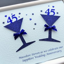 Anniversary glitter glasses sapphire with large numbers