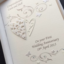 Anniversary scrolls and lace hearts ivory with diamantes