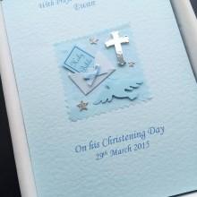 Christening bible in envelope blue