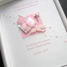 Christening bible in envelope pink