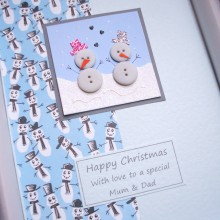 Christmas button snowmen couple