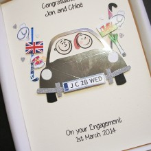 Engagement couple in car with custom embellishments