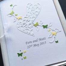 Engagement lace hearts leaves & mini butterflies shown lemon & lime