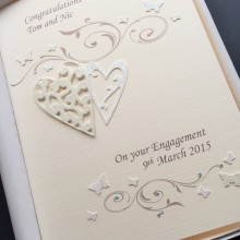 Engagement lace hearts & scrolls cream