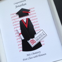 Graduation gown and mortar with University logo example Bristol