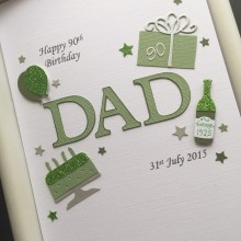 Mens A5 name and birthday decorations green