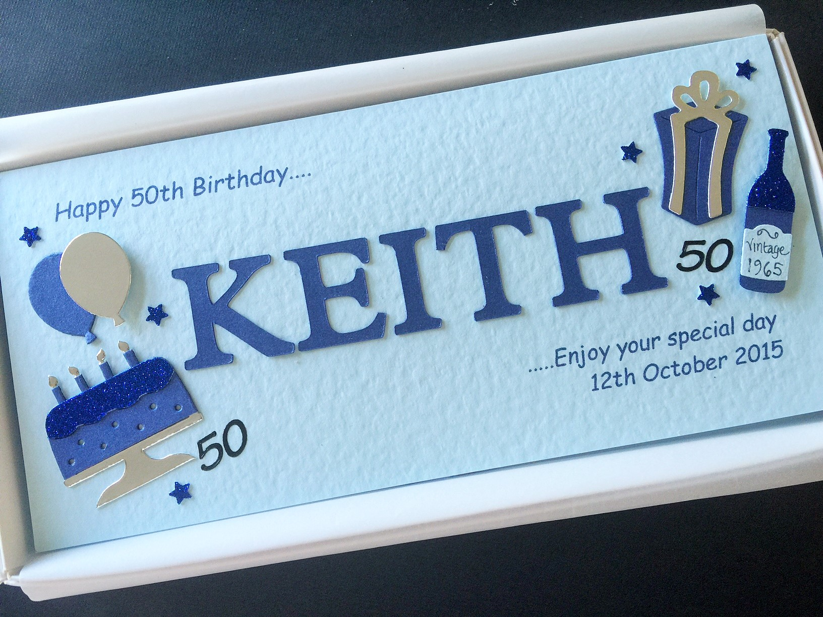 Mens Cut Out Name On Slim Card With Birthday Decorations Navy Blue