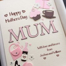 Mothers day A5 name with cupcakes and coffee brown & pink on ivory