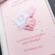 New baby footprints and label pink